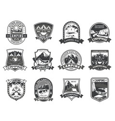Icons for camping mountain adventure vector