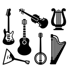 Icons of string musical instruments vector