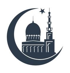 islamic mosque black silhouette vector image