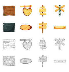 isolated object of raw and forest icon collection vector image