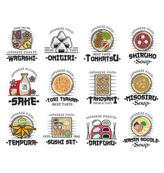 japanese cuisine dishes icons of asian food vector image