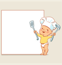 Little baby chef at banner vector