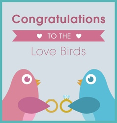 Love birds exchanging rings wedding card vector