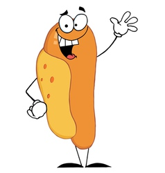 Lucky Hot Dog Waving A Greeting vector