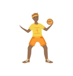 Man In Yellow Uniform Playing Basketball vector