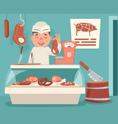 Meat shop counter butcher seller retro vintage vector