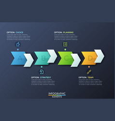 Modern infographic design template with 4 right vector