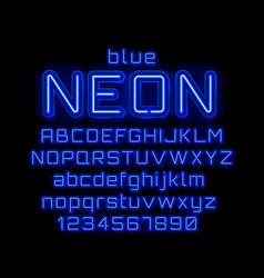 neon light color blue font english alphabet and vector image