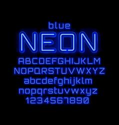 neon light color blue font english alphabet vector image