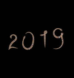 Number 2019 with snake style welcoming the new vector