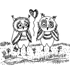 Owls trees grass Black contour on a white vector