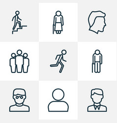 person outline icons set collection of male vector image vector image