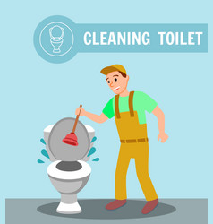 Plumber with plunger repair clogged toilet bowl vector
