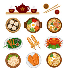 set of asian food chinese and korean cuisine vector image