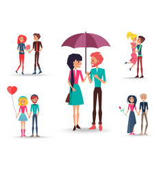 Set of five couples in love full-length close-up vector