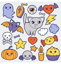 Set of halloween kawaii cute doodles and objects vector