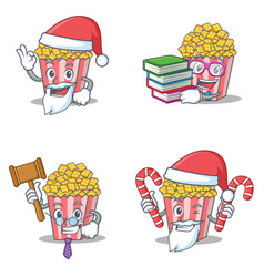 set of popcorn character with santa boook judge vector image