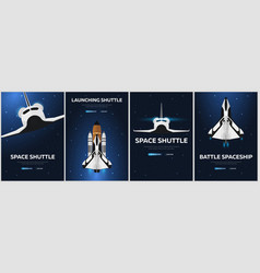 set of space shuttle banners astronomical galaxy vector image