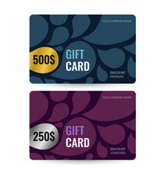 set premium and standard gift card gold and vector image