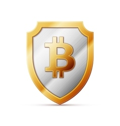 shield with bitcoin sign vector image