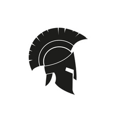 Silhouette roman or greek helmet isolated vector