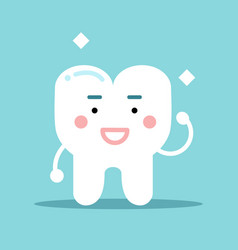 Smiling healthy strong cartoon tooth character vector