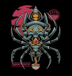 Spider eat ramen vector