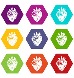 strawberry icons set 9 vector image