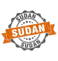 sudan round ribbon seal vector image