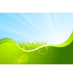Summer background with wave and grass vector image