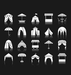 Tent white silhouette icons set vector