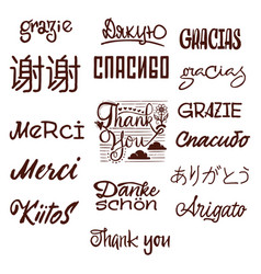 thanks in different languages calligraphy vector image