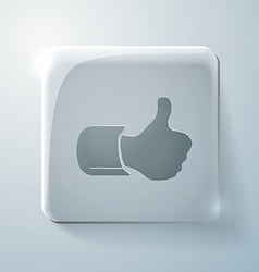 Thumb up Glass square icon vector