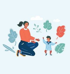 toddler walking mother help her son vector image