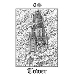 tower tarot card from lenormand gothic mysteries vector image