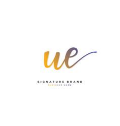 U e ue initial letter handwriting and signature vector