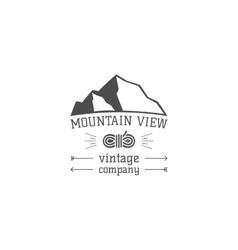 Vintage mountain view climbing hiking camping vector image