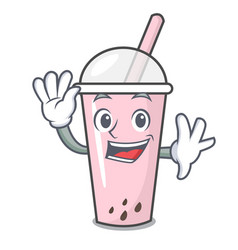 waving raspberry bubble tea character cartoon vector image