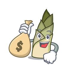 With money bag bamboo shoot character cartoon vector