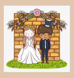 woman and man with brick wall and flowers plants vector image