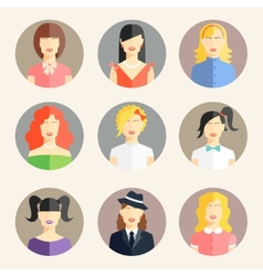 Women avatars in flat style vector