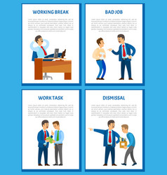 Working break in office businessman relaxing vector