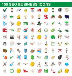 100 seo business icons set cartoon style vector