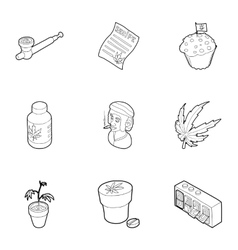 Cannabis icons set outline style vector image vector image
