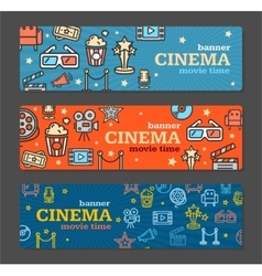 Cinema Banner Card Tickets Set vector image