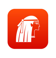 Egyptian girl icon digital red vector