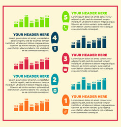 infographics elements - steps and line chart vector image