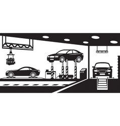 Garage with stand canal and crane vector image vector image