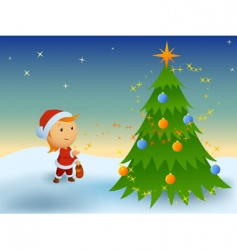 little boy and magic Christmas vector image vector image