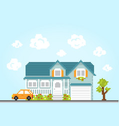 pixel art style retro game city location house vector image vector image